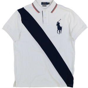 Custom Slim Fit Big Pony Sash Stripe Polo Shirt